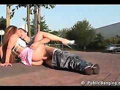 Daring girl fucked in public