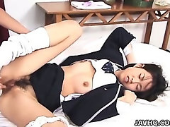 Wife sucks on black cock as husband watches