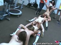 Lovely College Amateur Girls Eating Box At Hazing
