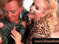 Glam babes bukkaked at gloryhole