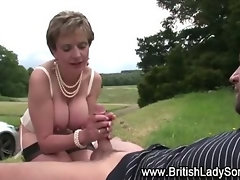Mature stocking brit fuck suck and cumshot