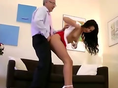 Babe licks a seniors cock clean after riding it