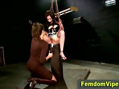 Lezdom bitch punishes her poor slut victim