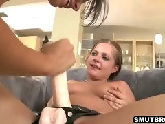 Three lesbian hottie sucking and fucking with a toy