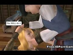 Foxy 3D cartoon blonde lass sucking on a dick