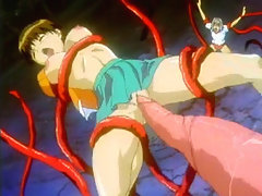 Cute hentai hard drilled by tentacles monster