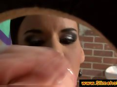 Astoning brunette getting a yummy facial