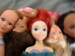 My Entire Doll Collection Taking a Facial Cumshot (5 Dolls)