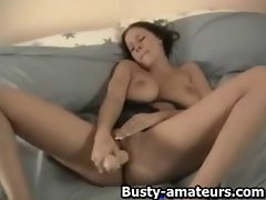 Gianna toying her pussy with giant dildo