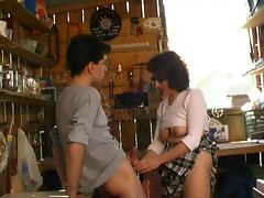 Roseline French mature with a young worker and grandpa