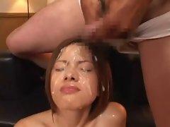 Short bukkake on a half-japanese girl part 2
