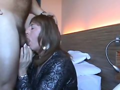 Sweet Crossdresser sucks cock and facialized