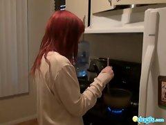 My emo gf preparing dinner naked