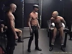 Two newcomers to the male sex dungeon get cruelly fucked