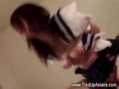 Bound asian bitch pussy fucked by her master