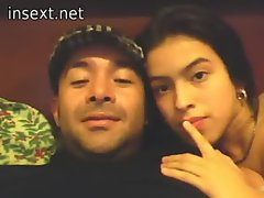 Latin Dad daughter and a webcam