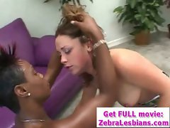 Zebra Lesbians - Sexy Ebony Babes Enjoy Strap-On Fuck 06