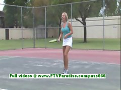 Shannon stunning blonde teenage playing tenis and flashing tits