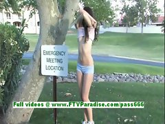Ashlyn lovely brunette babe fingering pussy in the great outdoor