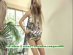 Sara lovely blonde teenage toying pussy on the stairs using a vibrator