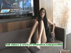 Tamara superb brunette teenage flashing tits and pussy in a public place