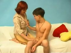 Young skinny boy with chubby mature Russian woman