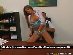 Adorable redhead babe at work on the desk gets her tight pussy fucked