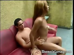 Cute shemale gets nailed on the couch