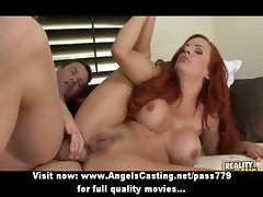 Superb redhead slut with big fake tits gets hardcore anal fucked