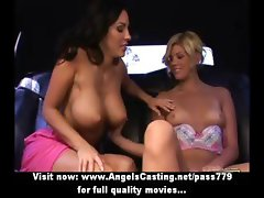 Adorable blonde and brunette lesbian girls undressing and licked pussy in car