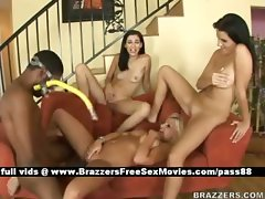 Three hot sluts on the couch get their pussy fucked by a monster cock