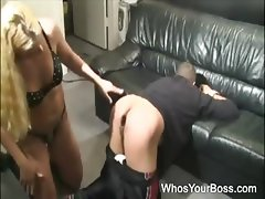 Stunning femdom in police uniform spanking and dildoing a submissive guy