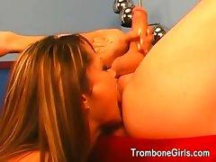 Hottie licking her mans balls and ass