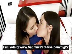 Ashlie and Dulce brunette lesbians kissing and having lesbian sex