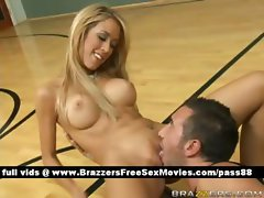 Amateur naked blonde babe on the basketball court