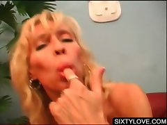 Mature blondies take dicks in 4some