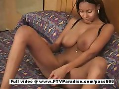 Awesome girl Monique busty ebony girl toying pussy and masturbating