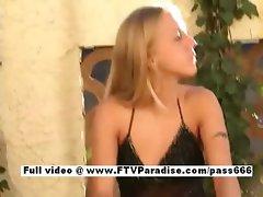 Awesome girl Kylie long hair blonde girl masturbating outdoors