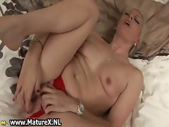 Horny blonde old lady loves fucking