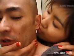 Asian bitch tasting cock in close-up