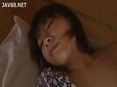 Japanese housewife in a robe gets groped and fingered by a dude