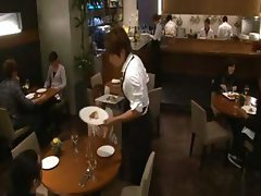 Japanese girl has dinner and then gets drilled by the waiter