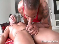 Handsome gay afro getting blowjob