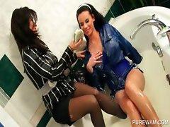 Lesbian sluts get wet in the bathtub