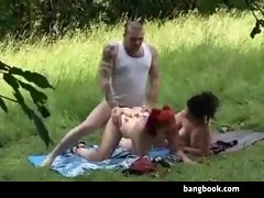 Two Hot Emo Chicks Getting Fucked Outdoors