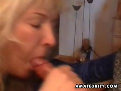 Mature amateur housewife homemade full blowjob with cum in mouth