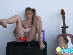 Tatttoed emo teen Laney playing with her dildos