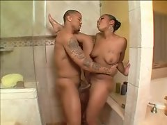 Cute sexy black chick in the shower fucked
