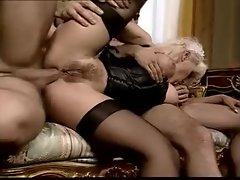 The French maid fucked in classic threesome