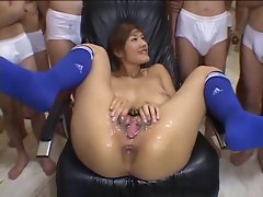Pussy bukkake with a Japanese girl is messy